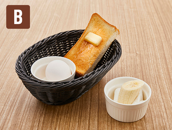トースト&ゆで卵にバナナをプラス